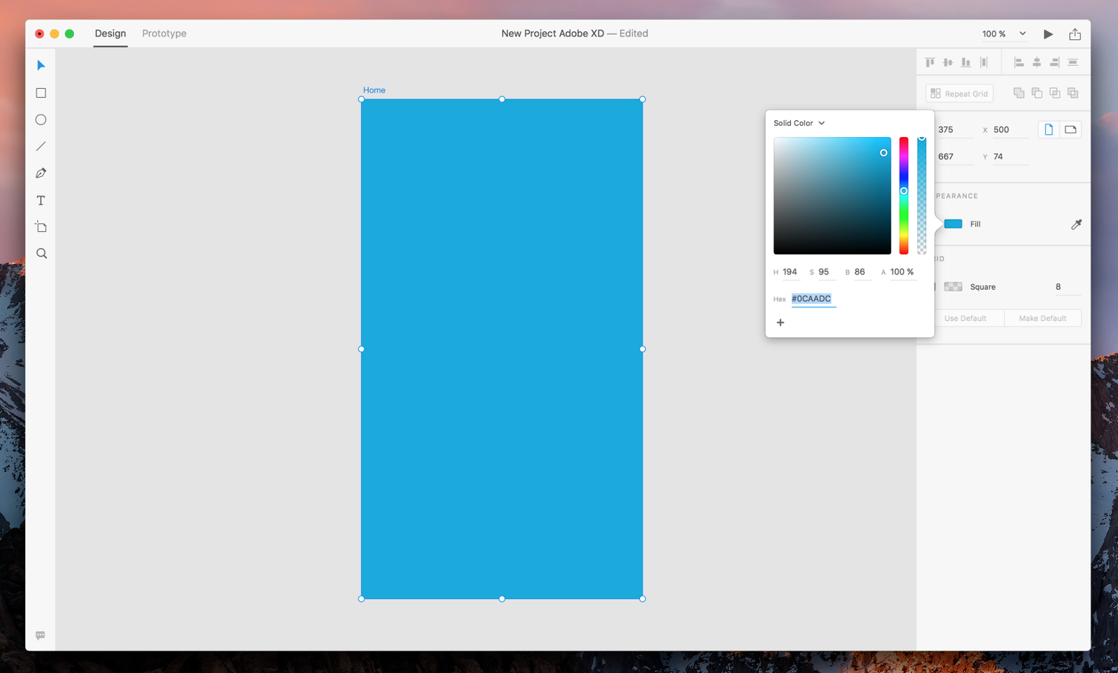 Changing the background color of an Artboard in Adobe XD
