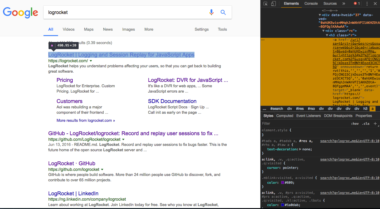 Introduction To Headless Browser Testing Logrocket Electronic Selector For 8 Sources The Pageevaluate Function Allows Us Run Scripts In Context Of Page Above Gets All Links From Google Search Result And