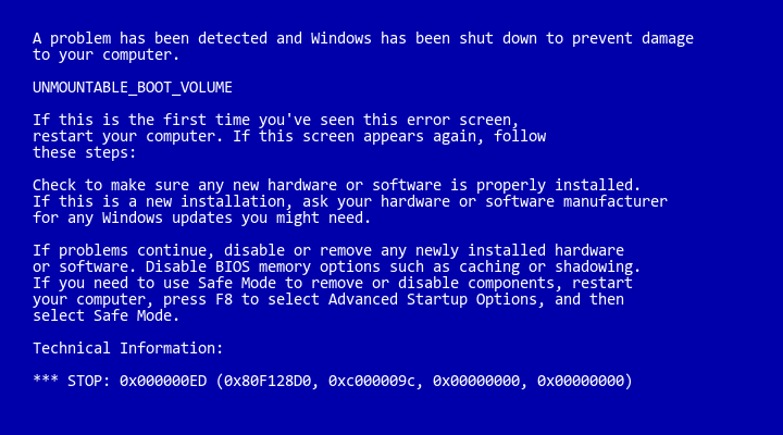 🔧 windows 10 blue screen error codes \u0026 solutions (all bsod errorsstop code 0x000000ed may also display \u201cunmountable_boot_volume\u201d on the same stop message\u2026