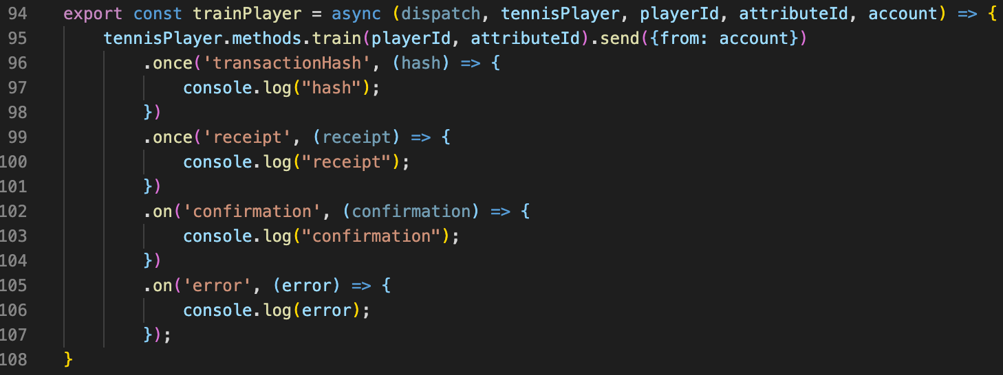 Snippet from interactions.js for training a player