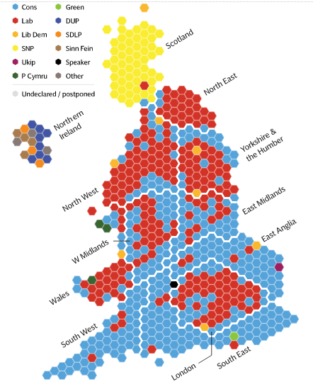 Election Results Map In The Form Of A Grid Of Hexagons Which I M Told Is Common For Representing The U K Each Hex Represents One Seat In Parliament