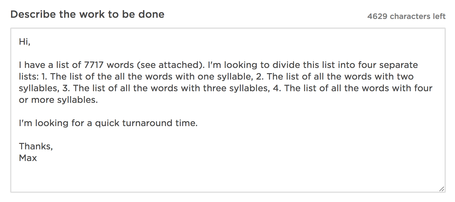 Then, yesterday, I hired someone on Upwork.com to help sort all 7,717 into  separate lists based on the number of syllables in each word.