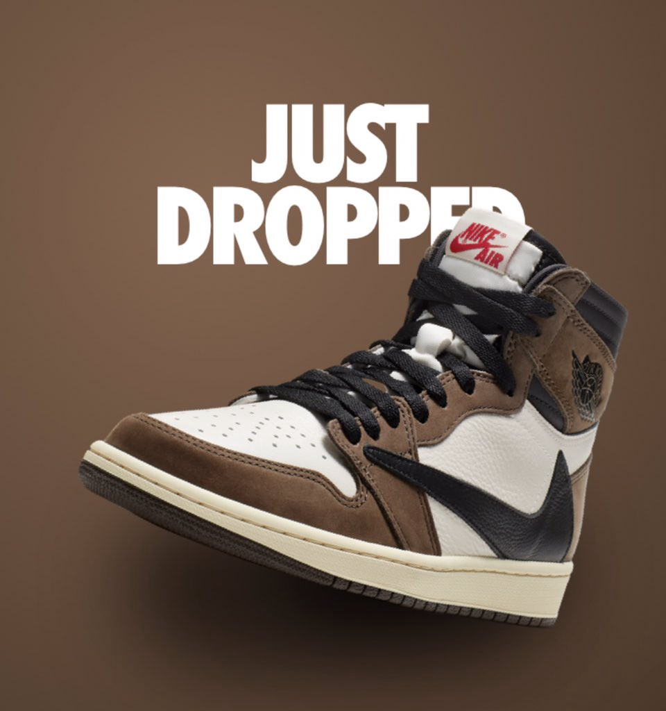 quality design 3dbbd 7bfaa ... Travis Scott x Nike Air Jordan 1 Retro High Sail Black-Dark Mocha-University  Red, some lucky shoppers struck gold during Scott s Grammy performance with  ...