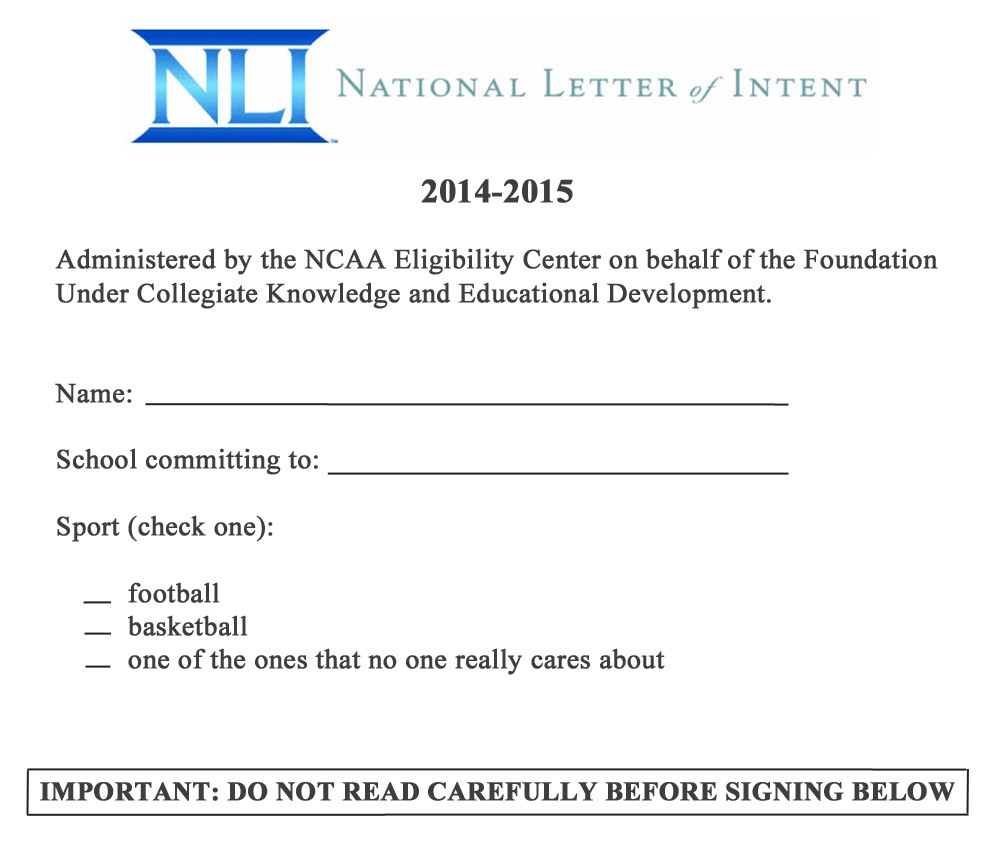 LEAKED: College Football's National Letter Of Intent