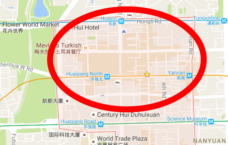This is roughly the market area. Image: Google maps