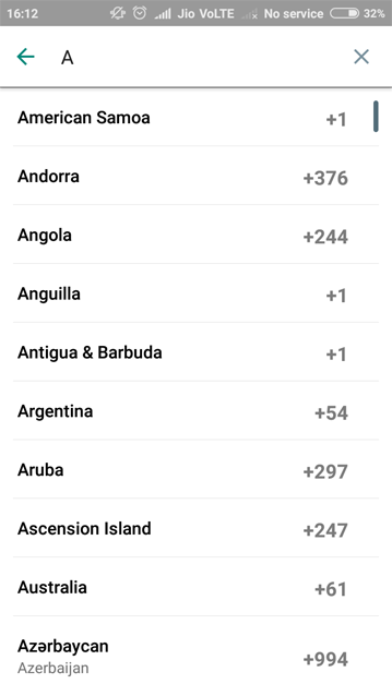 Whatsapp country list with search