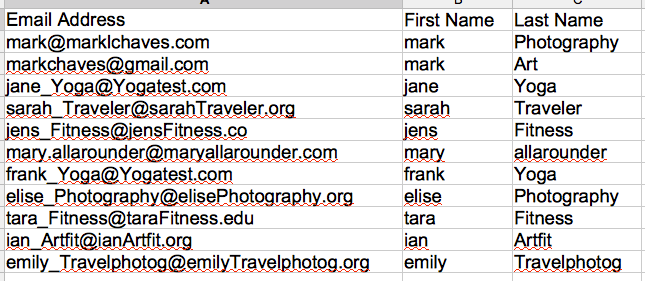 list of email addresses