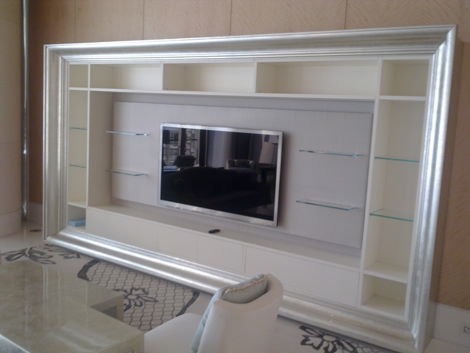 Mukesh Ambani House Antilia Interior Silver Leafing Done On TV Unit By TGLS  / Shehzad Khan.