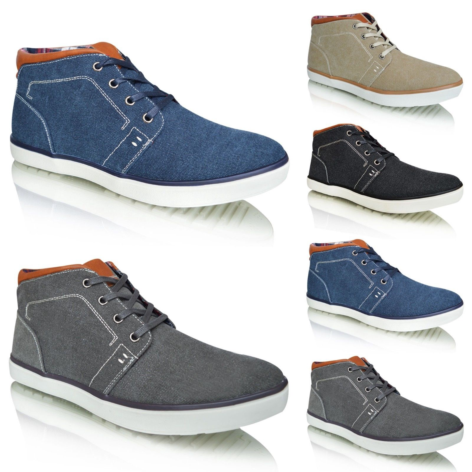 27c488c311e Xelay Mens Lace Up Plimsolls High Top Smart Casual Fashion Trainers Shoes  Boots