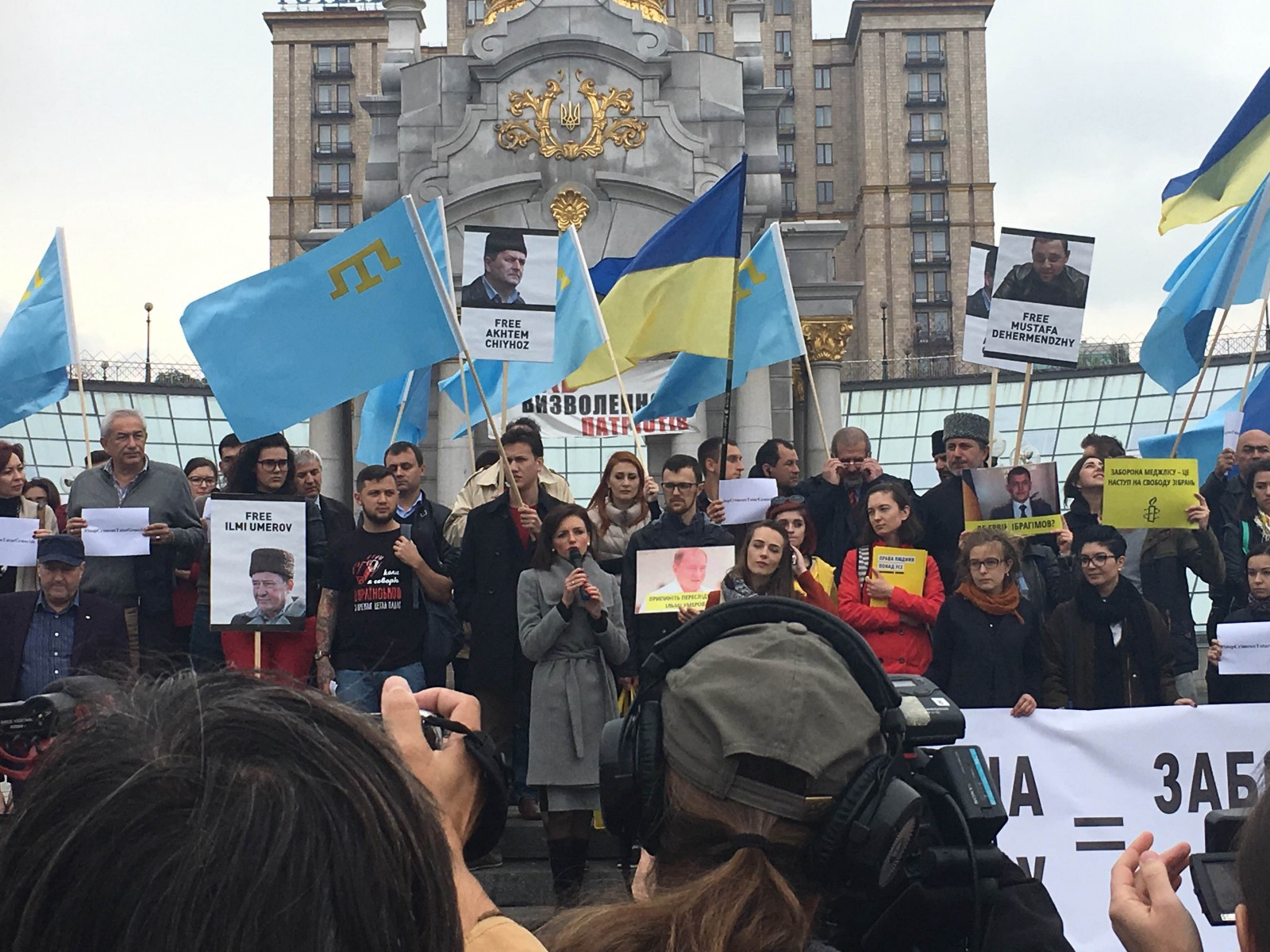 Crimean Tatars who fled from the Crimea after the coup in Kiev, on 11