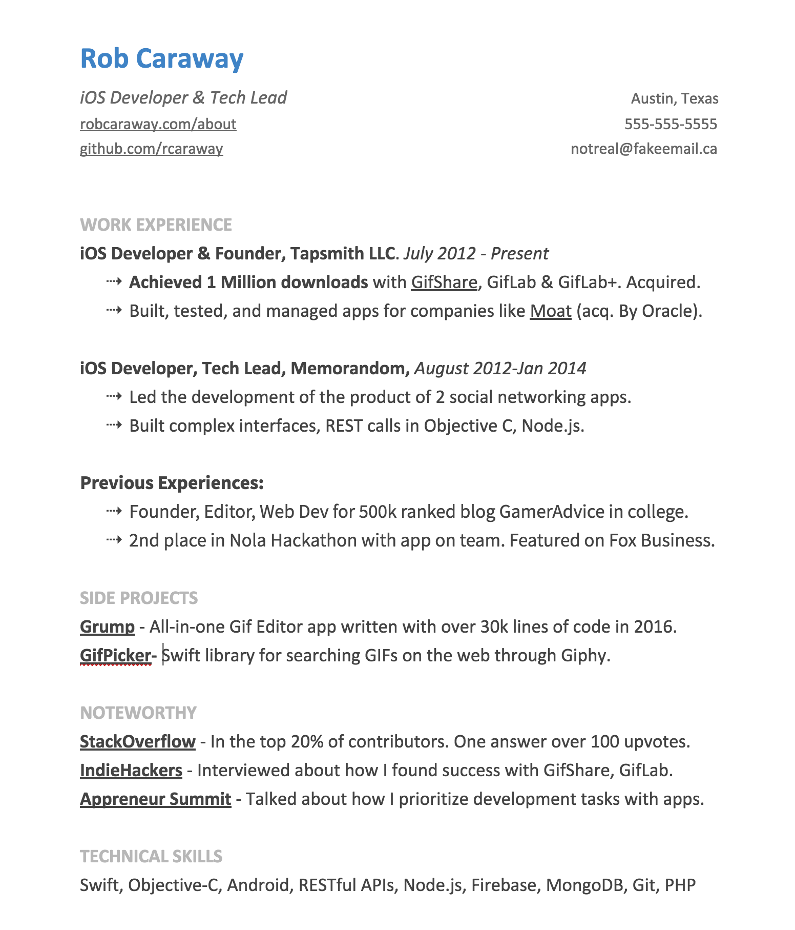 ios developer resume