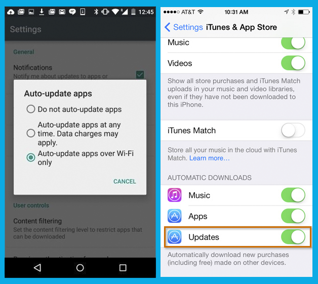 Settings: Automatic update apps on Android and iPhone