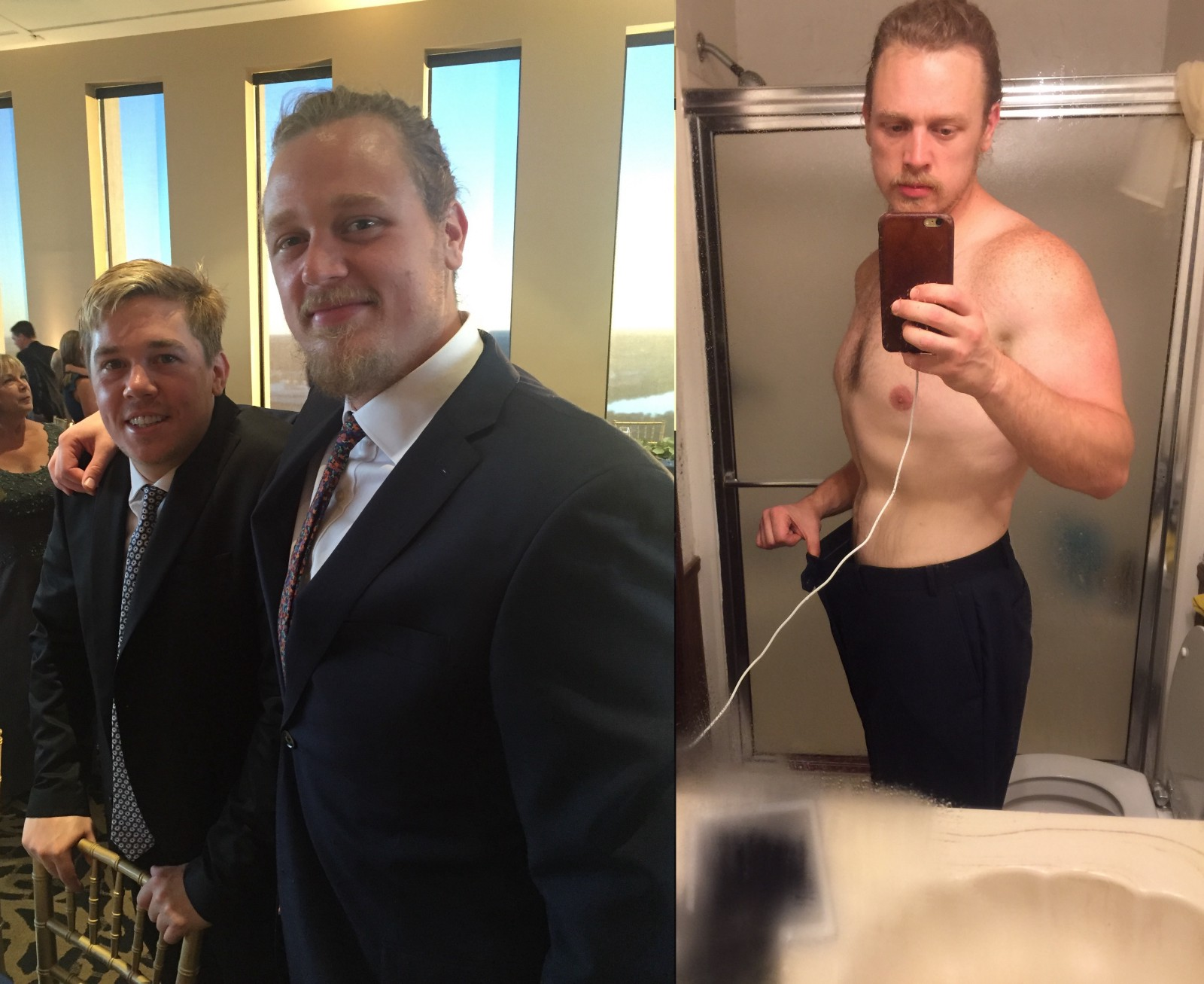 Left: At my friend Steve's wedding in September of '16 around 230-ish lbs.  Right: Same suit & pants in July of '17 at 200 lbs.