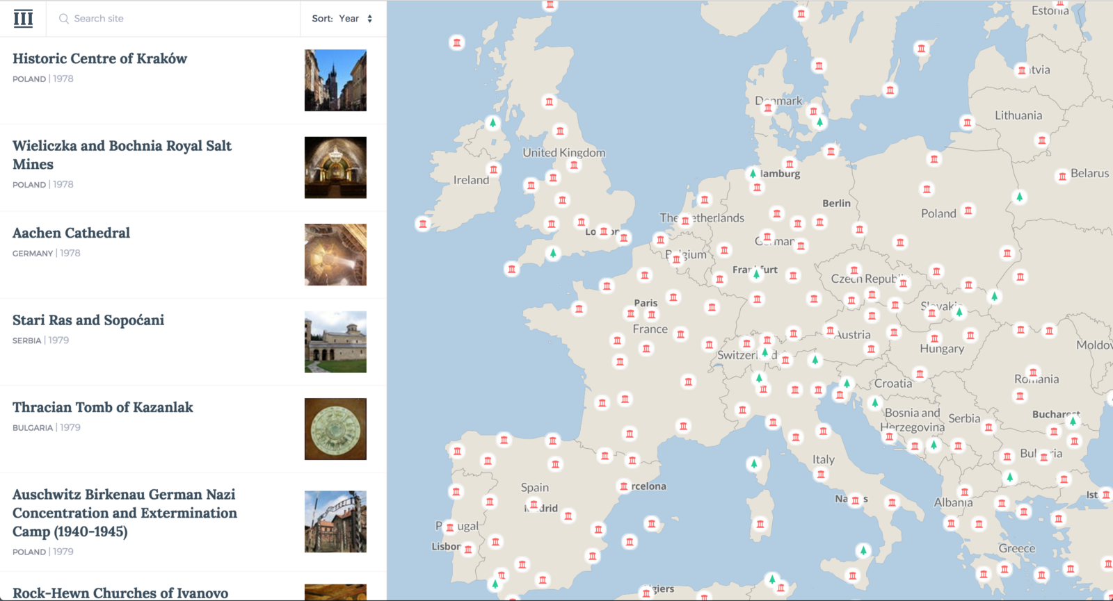 Maps: a selection of sites