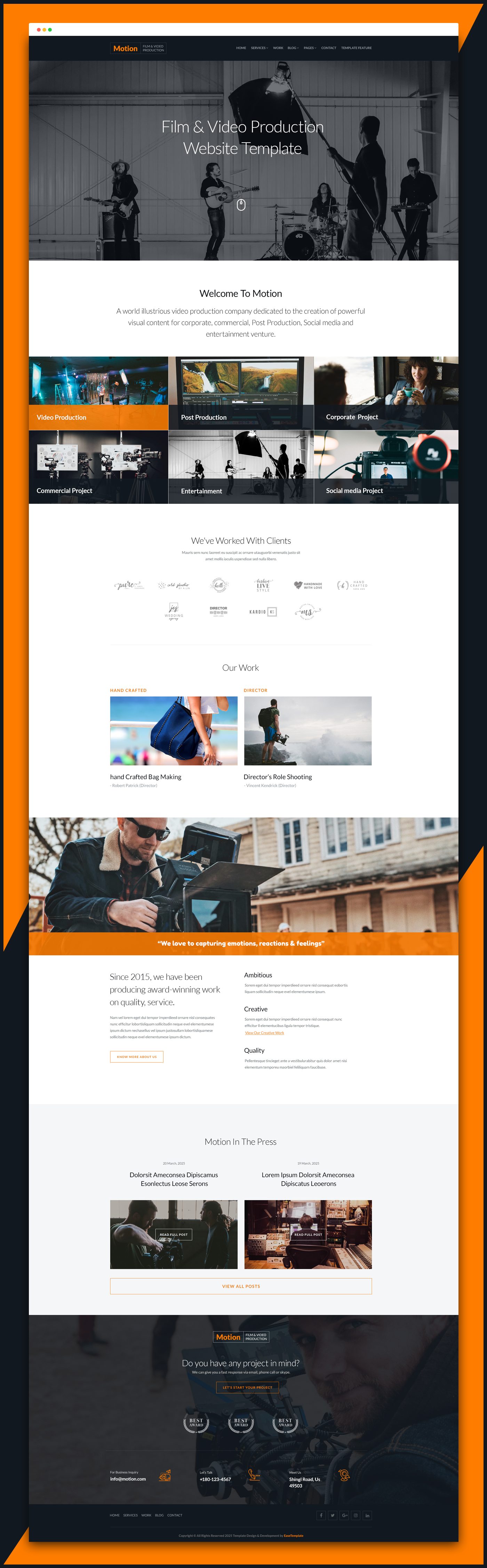 Motion HTML5 Template for Commercial Video Production Company