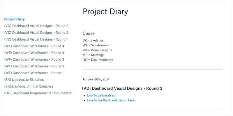 project diary template