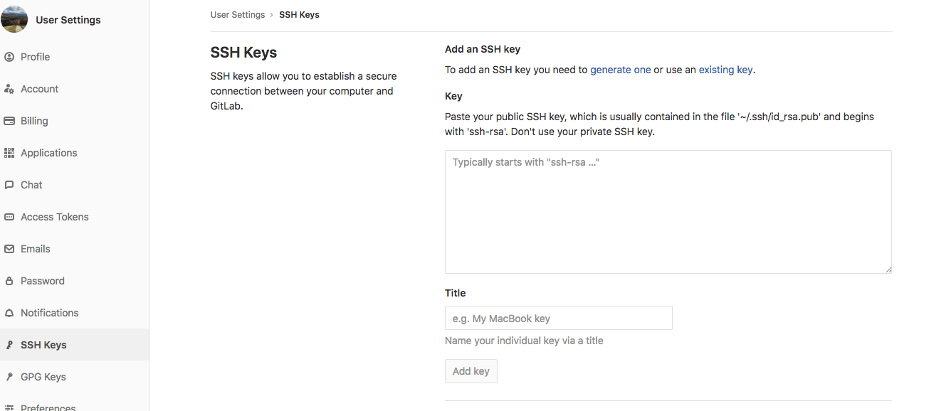 adding a new ssh key to your gitlab account