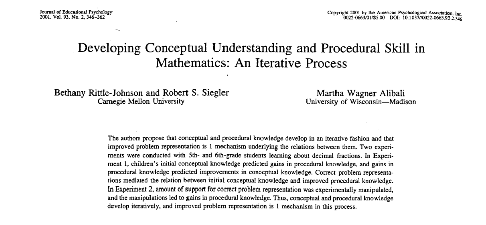 The Back and Forth Between Procedural Knowledge and Conceptual Understanding