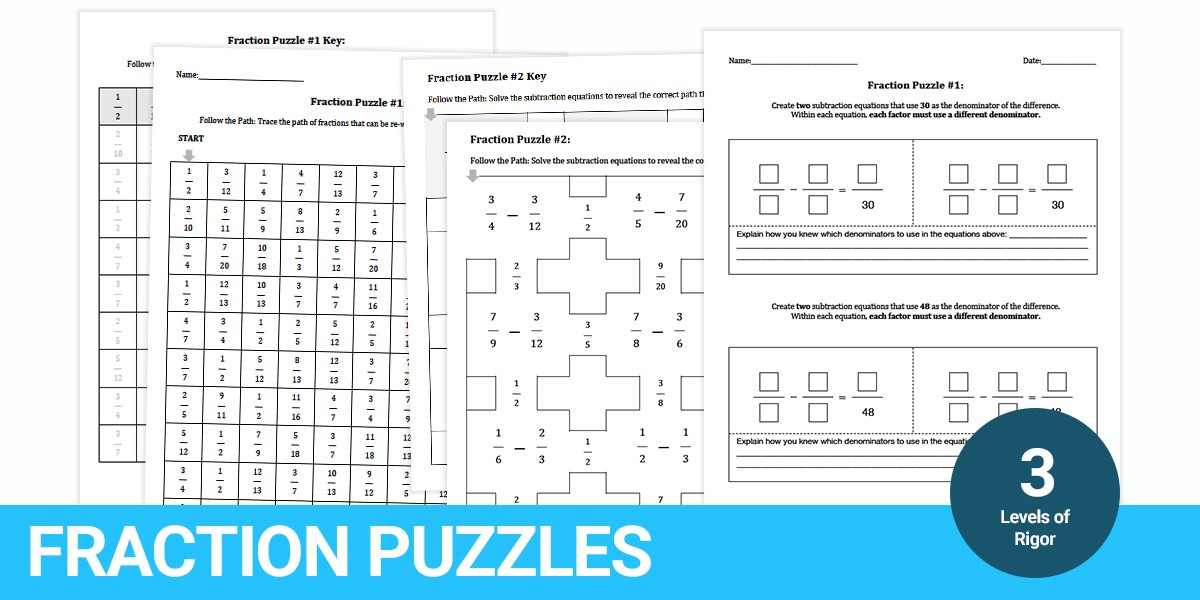 Fraction Mazes Puzzles At 3 Different Levels Of Rigor. These Puzzles Are Available For Everyone Download The Full Resource Here. Worksheet. Adding And Subtracting Fractions Riddle Worksheet At Clickcart.co