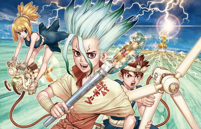 Dr Stone wallpaper graphics: three of the main character using tech tools