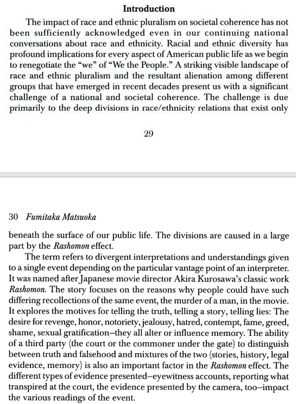 "race ferguson and the rashomon effect naxuu medium an essay from fumitaka matsuoka ""creating community amidst the memories of historic injuries "" lays out ""the rashomon effect"" as a concept"