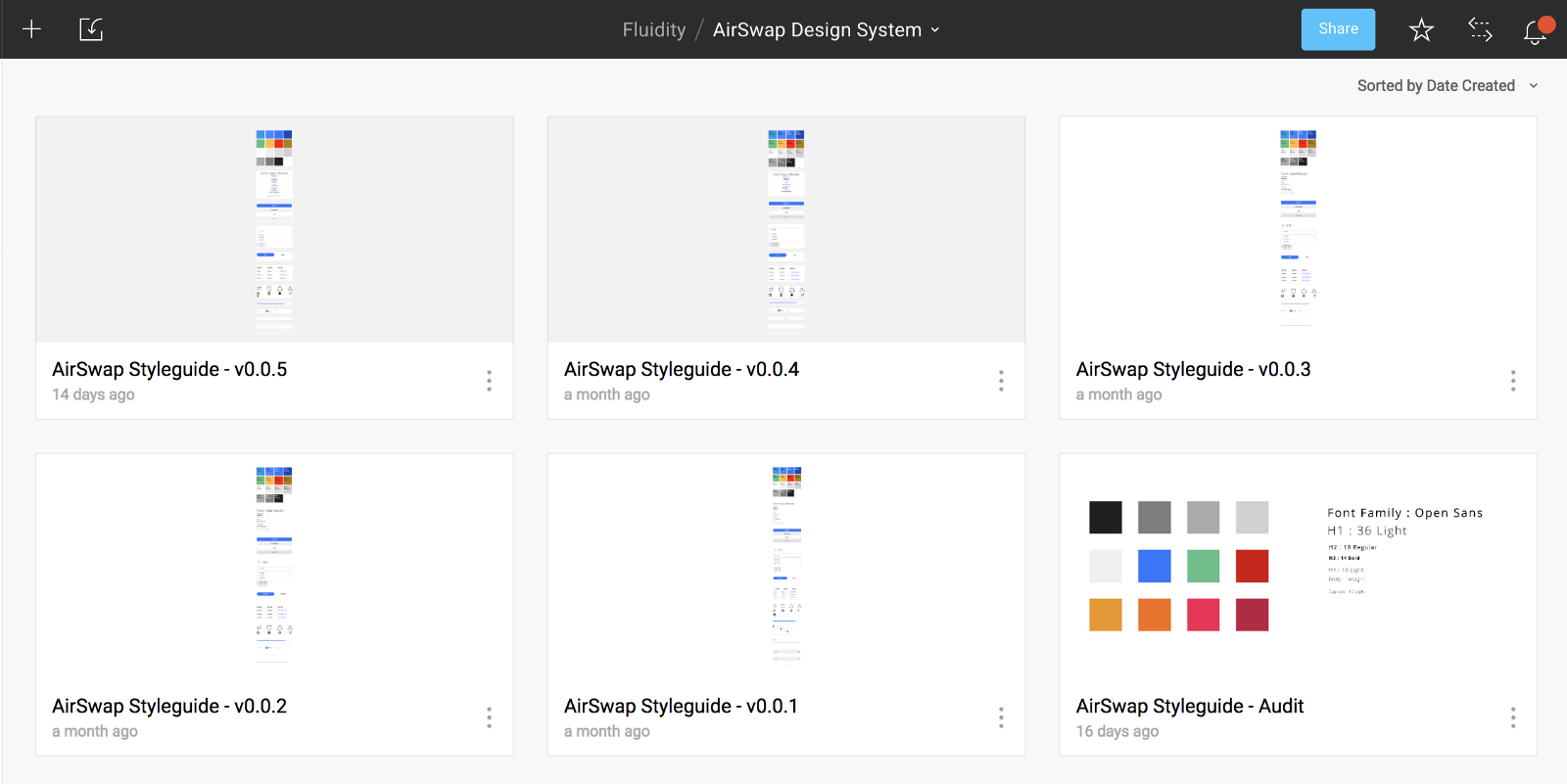 Multiple versions of the component library, rendered to Sketch and uploaded toFigma