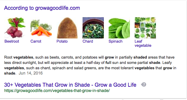 google search result for vegetables