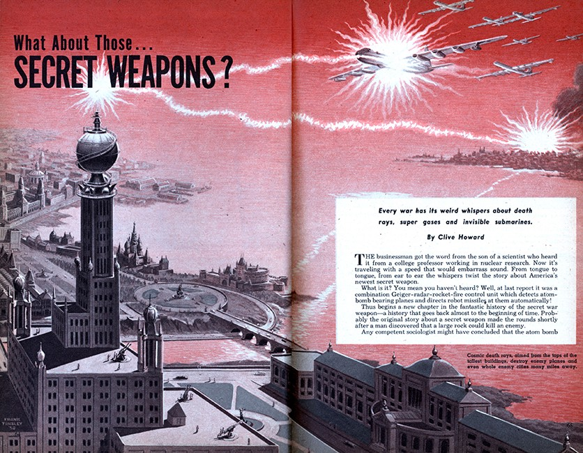 """What About Those… SECRET WEAPONS?"" Frank Tinsley, Mechanix Illustrated, 1951."