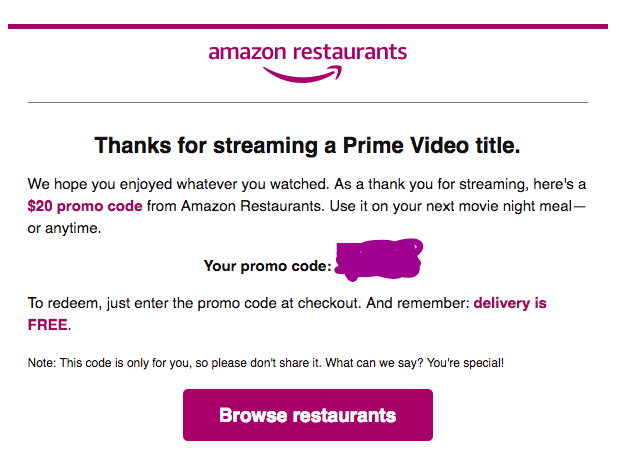 Prime pav-testcode.tk is offering, for a limited time, $15 off your First Amazon Restaurants order of $20 or more after Coupon Code: