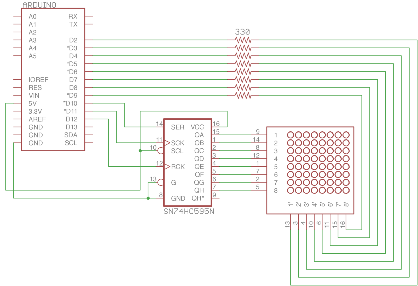 Using A 74hc595 To Control Led Matrix Arduino Playground Medium Display Circuit Diagram The Chip In Middle Is One Doing Magic