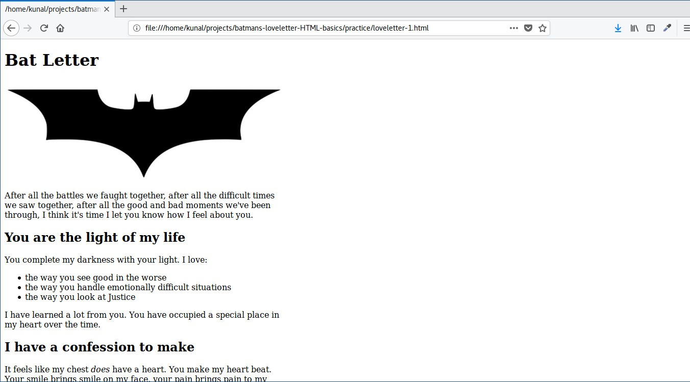 For Your First Html Code Lets Help Batman Write A Love Letter