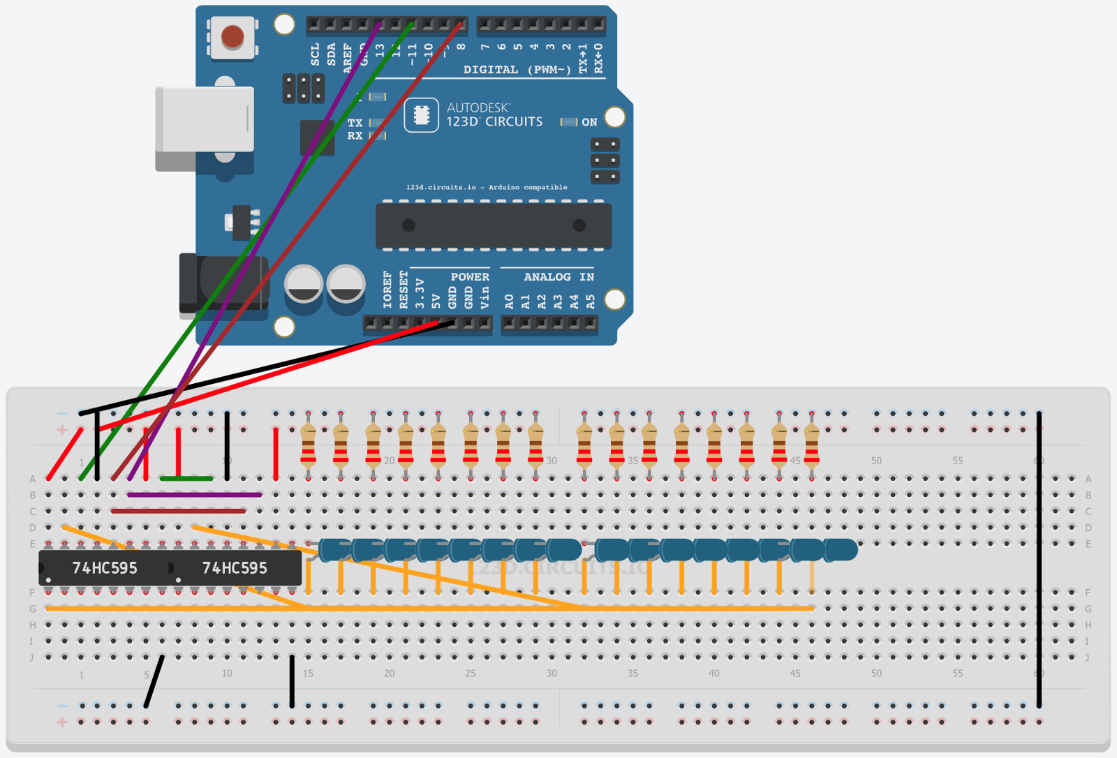 Driving 16 Leds Using Only Three Pins Of An Arduino Led Component Wiring Diagram Full Schematic Available On Http 123dcircuitsio Circuits 634943 Two Shift Registers