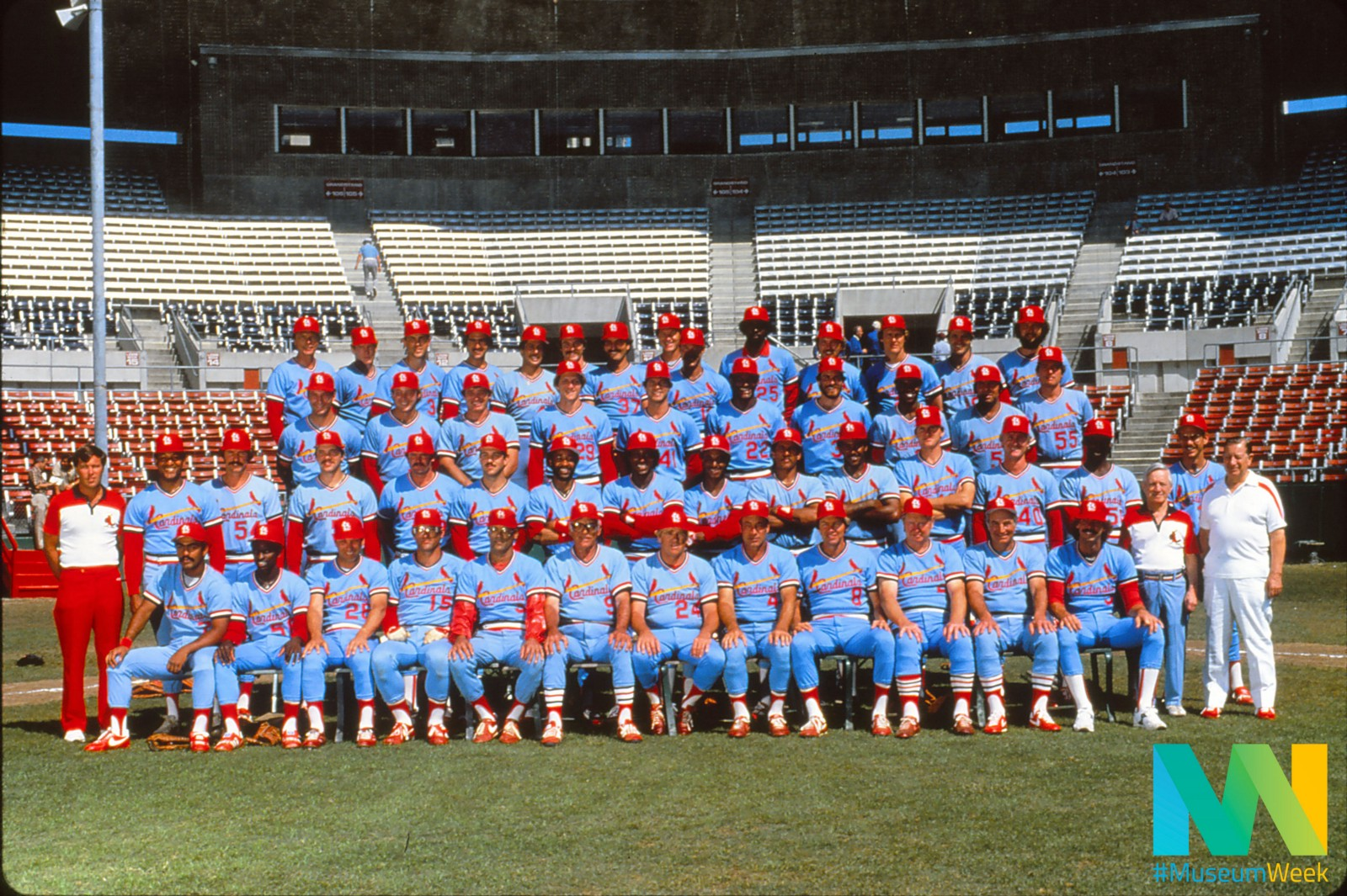 """134dbca12 Powder blue. Robin's egg blue. Swimming pool blue. It was the color that  defined an era of Cardinals baseball, and its actual name was """"victory blue."""