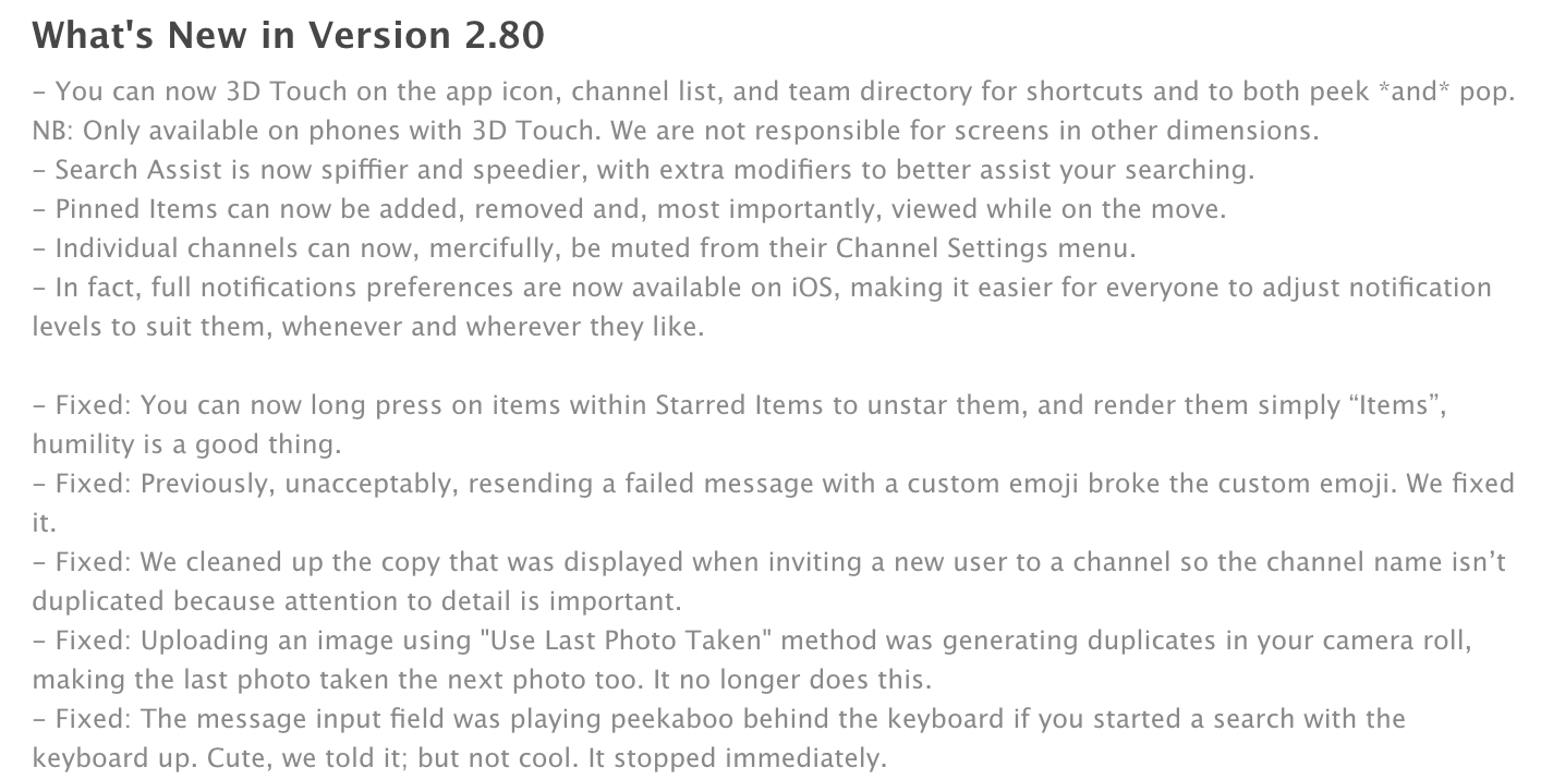Example: Our Most Recent IOS Release Notes