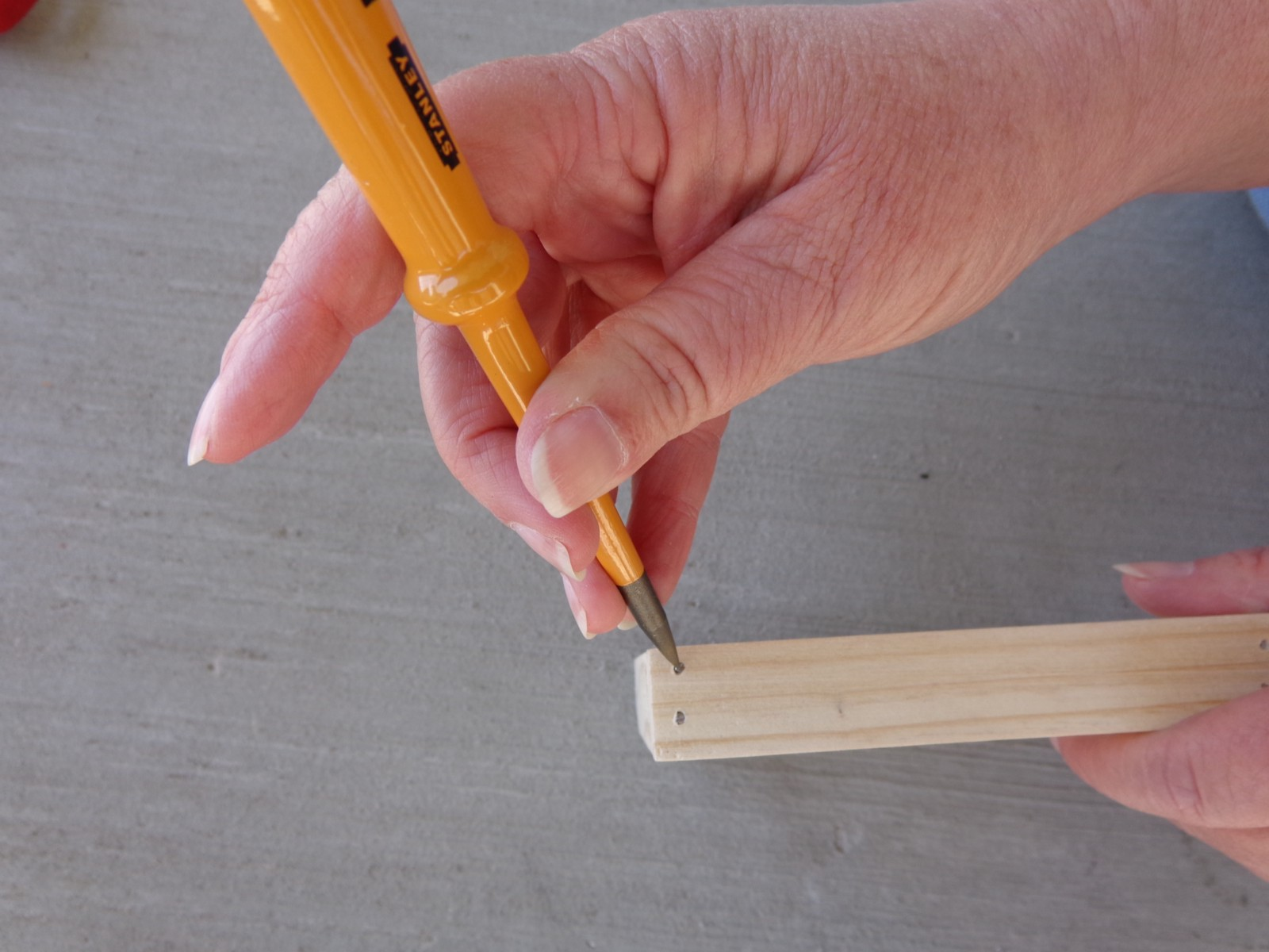 Use Awl To Countersink Your Nail Or Brad