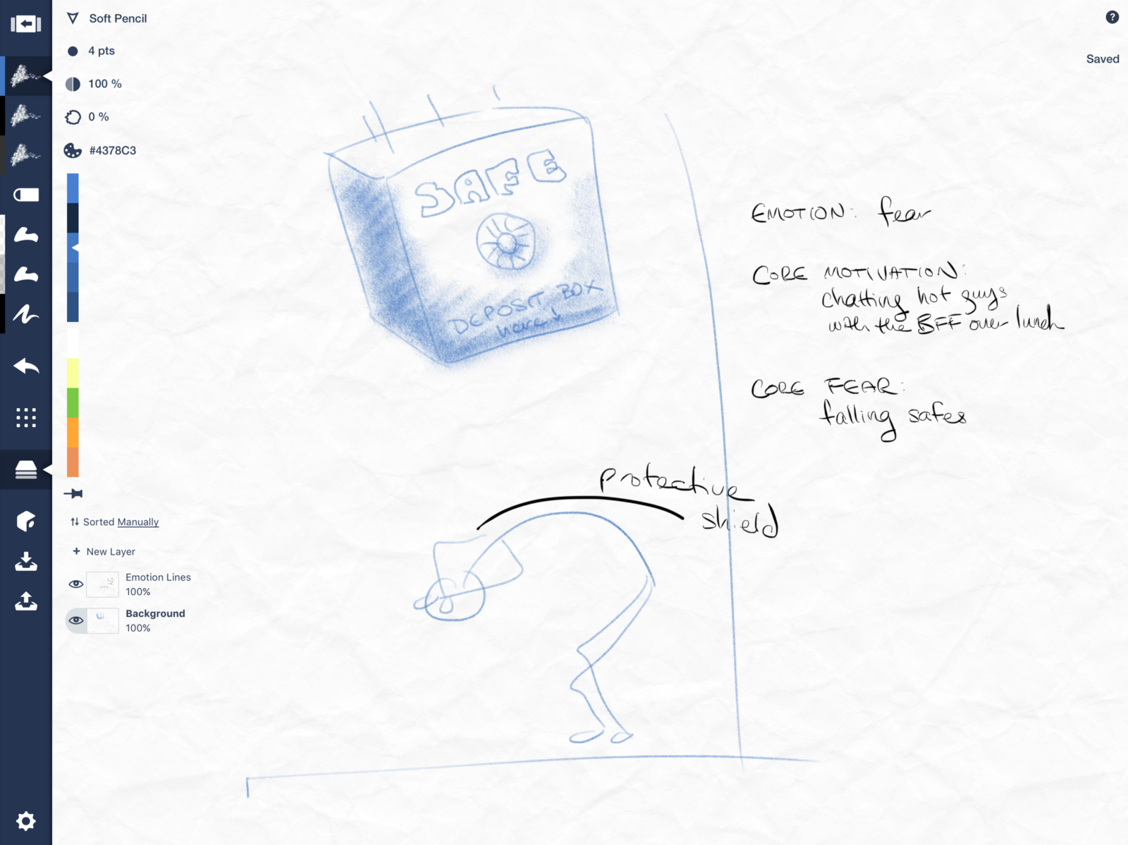 Character Sketching Basics Concepts Medium Drawing Moment Diagram Roughing In Context A Background Layer Draw On Their Core Motivation And Fear To Help Give You