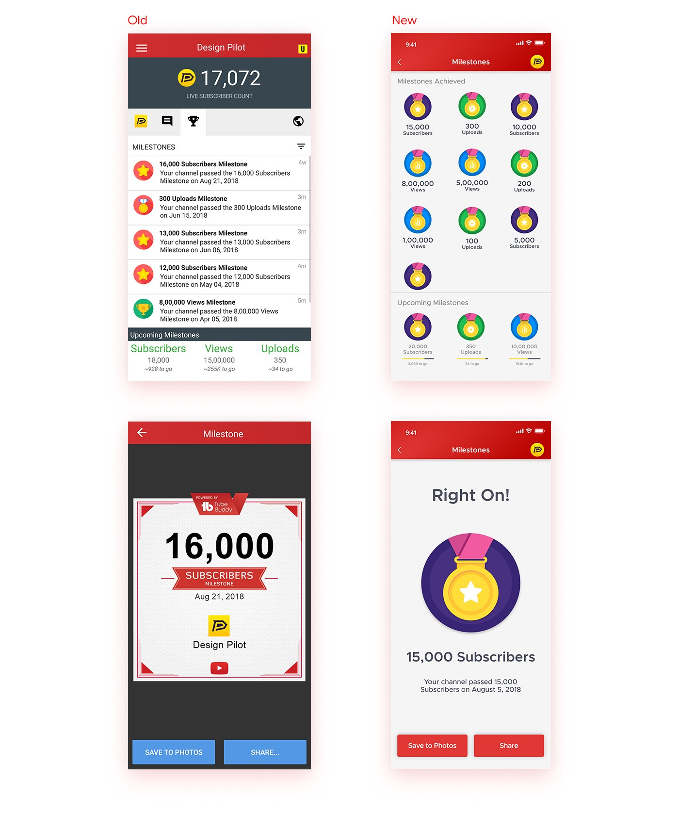 Mobile App Home Screen Redesign: Tube Buddy Mobile App Redesign