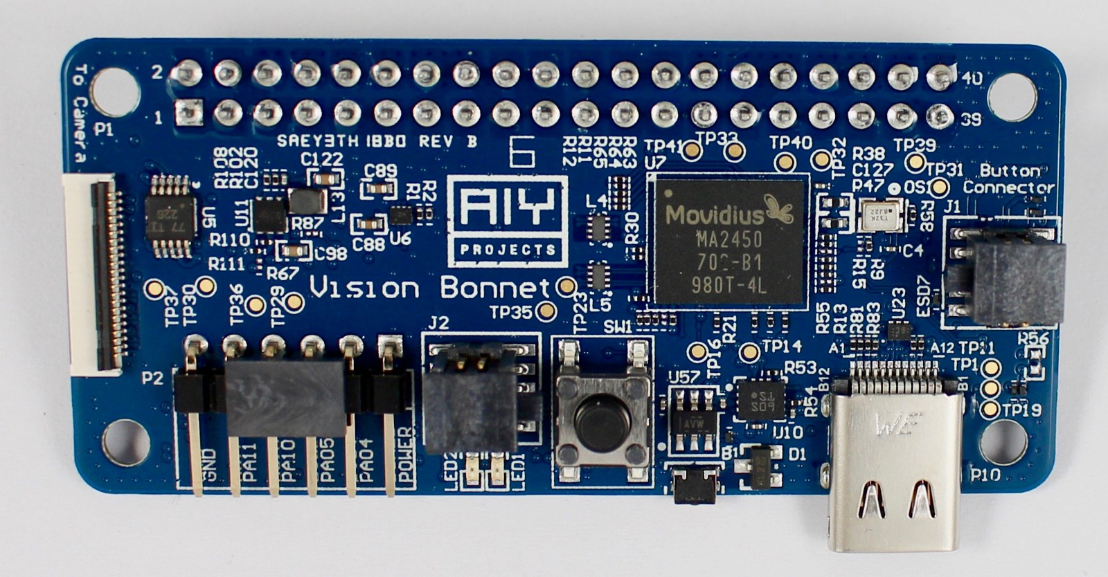 Announcing The Aiy Projects Vision Kit Hackster Blog Circuit Board Attached To A Small Piezo Speaker And Powered By Two Aa Bonnet Top Showing Movidius Ma2450 Alasdair Allan
