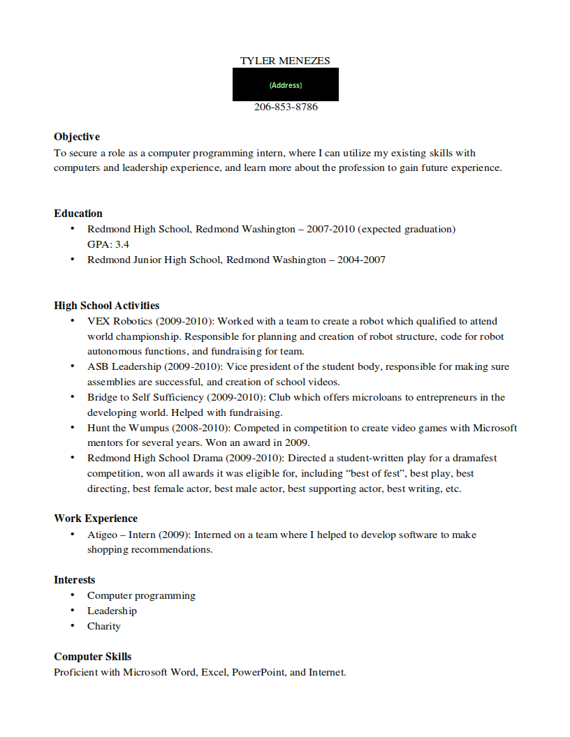 To Get An Internship In High School Ignore Your School S Resume
