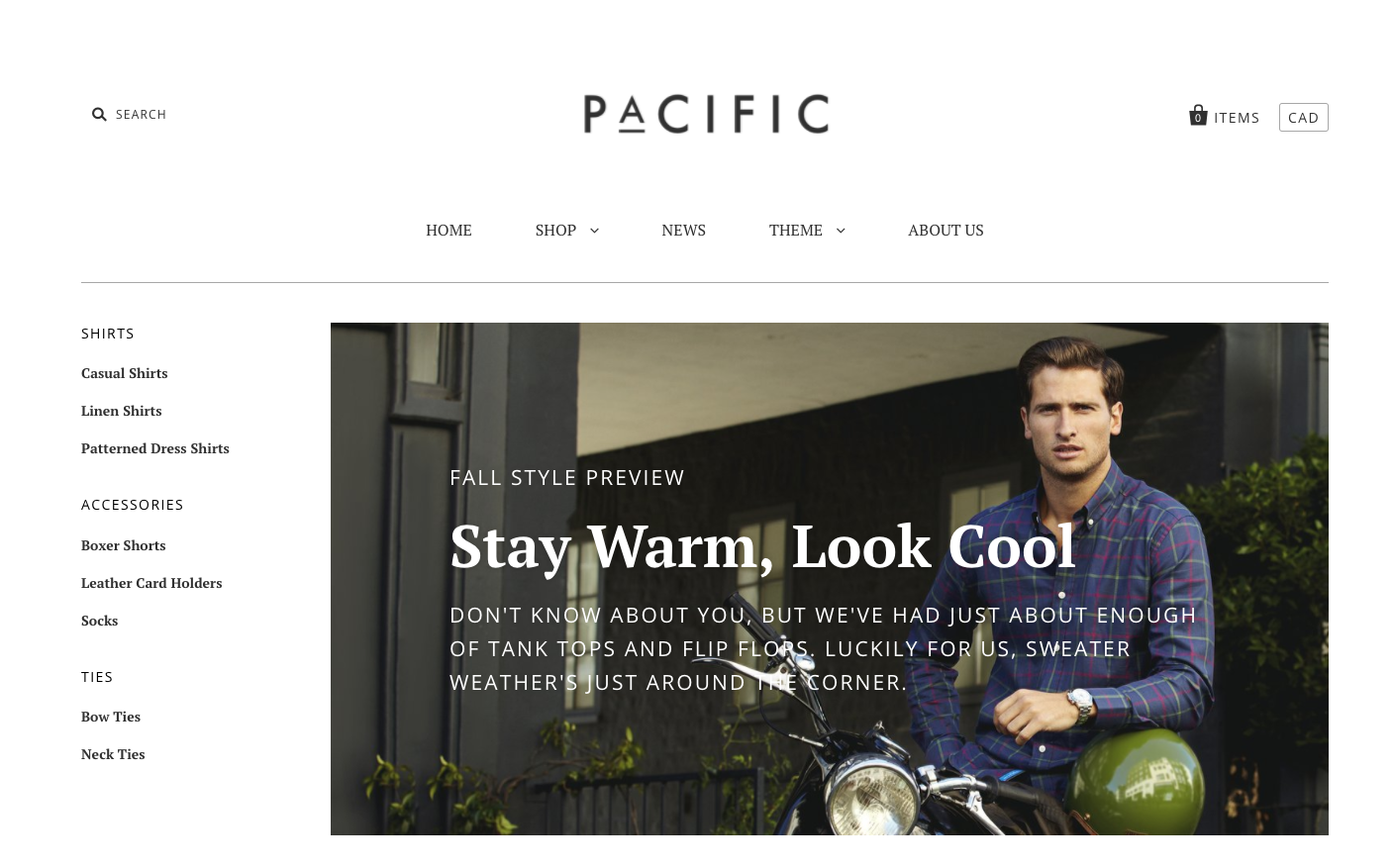 Pacific Shopify theme with nested navigation enabled