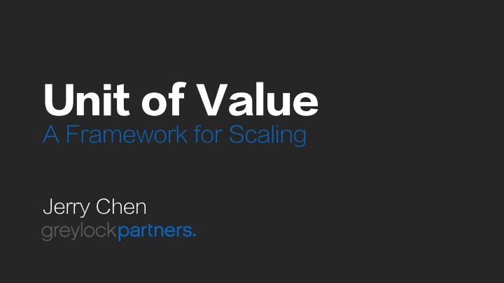 Unit of Value™: A Framework for Scaling