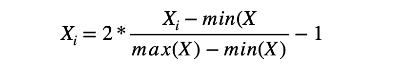 Normalization formulae -1 to 1