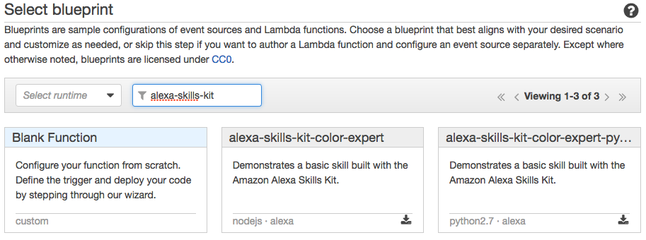 Alexa skills kit tutorial: Select blueprint
