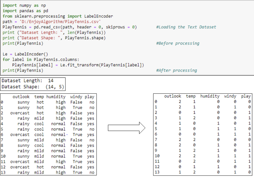 Data pre-processing code for label encoder