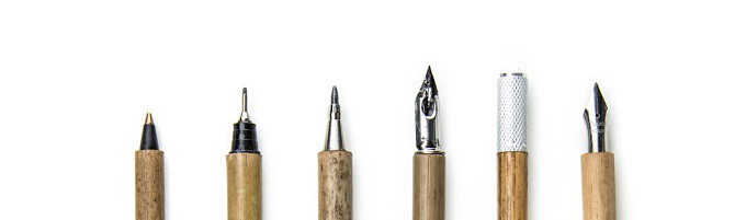 From L To R Rollerball Pen Mechanical Pencil Ballpoint Fountain Pens