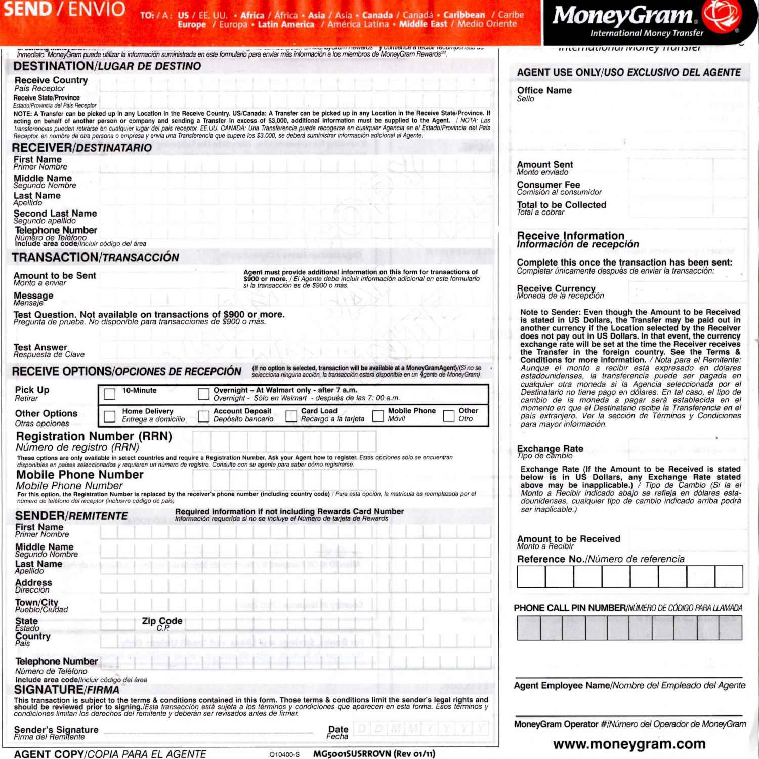 Example Of Moneygram S Money Order Form