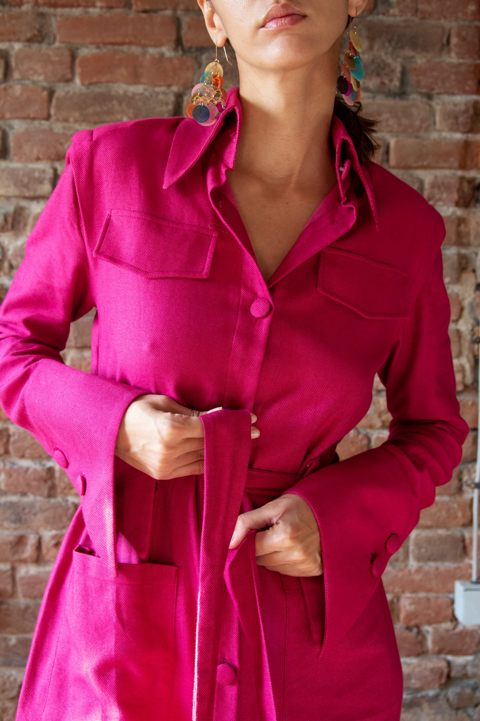 Pink cashmere shirt dress with front pockets