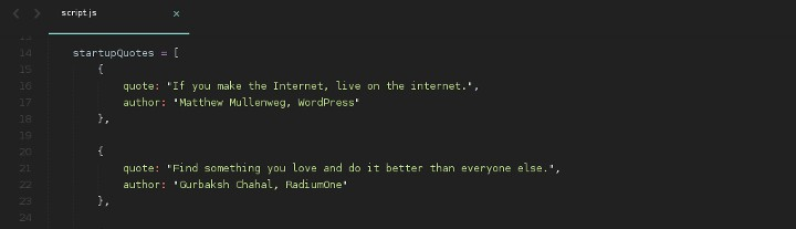 Building a random quote machine freecodecamp i settled on eight categories for the quotes and collected 25 quotes for each one each category was an array of objects with quote and author properties altavistaventures Gallery