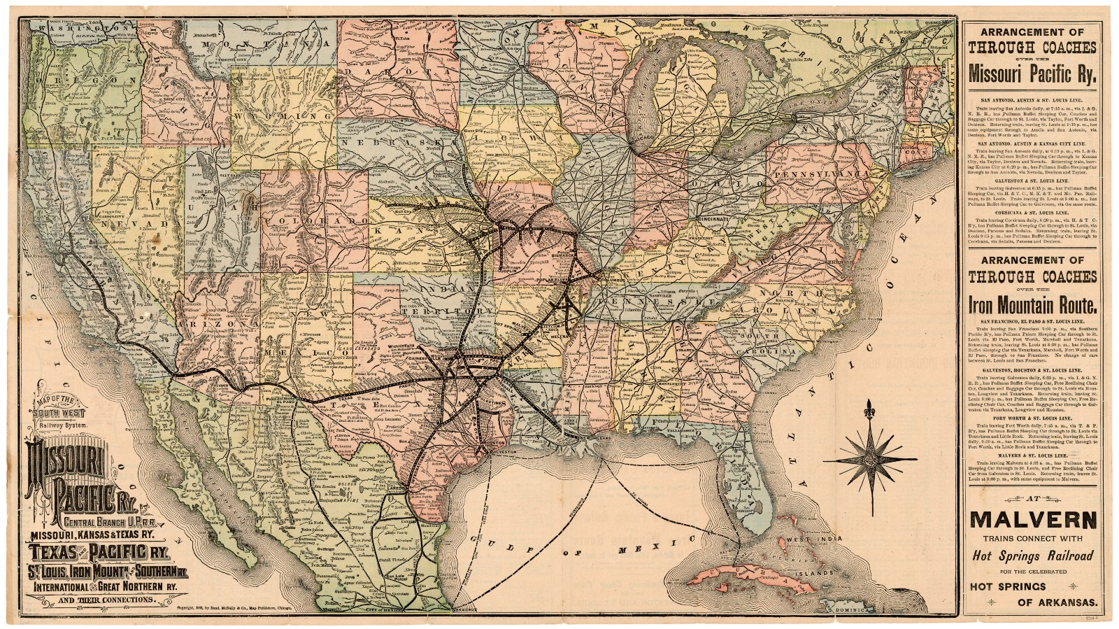 Map of the Southwest Railway System, 1883 – Save Texas History – Medium
