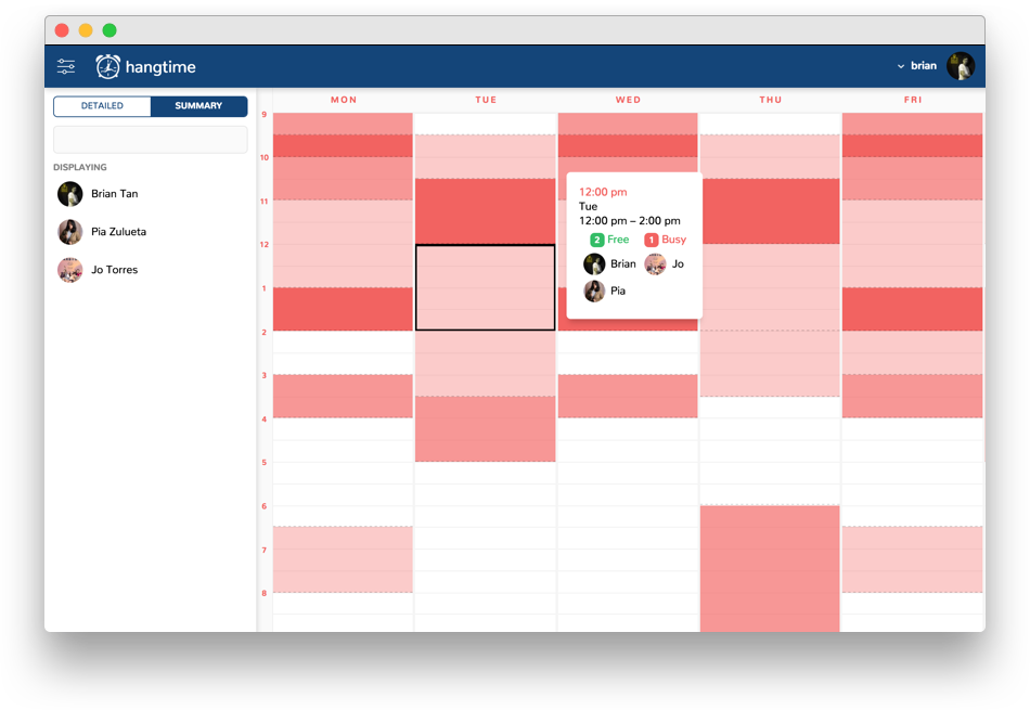 compare schedules easily with hangtime hangtime medium